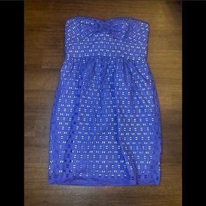 Shoshanna blue eyelet strapless dress - 8